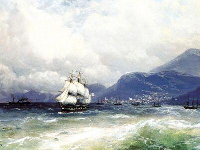 AIK 096 / Ivan Konstantinovich AIVAZOVSKY / Trabzon Açıklarında Türk ve Rus Gemileri, 1888