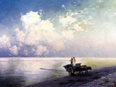 AIK 099 / Ivan Konstantinovich AIVAZOVSKY / Durgun Deniz Kıyısında Kağnı ve Yüzücü, 1886