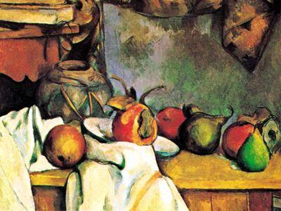 CPA 011 / Paul CEZANNE / Buruşturulmuş Örtü Vazo ve Meyve Tabağı