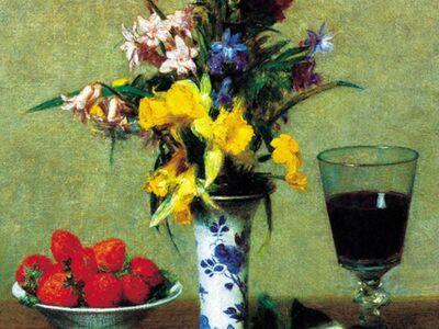 FHE 001 / Henri Fantin LATOUR / Çiçek ve Meyvelerle Natürmort, 1865