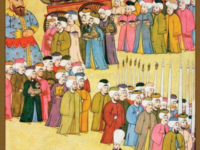 LEV 001 / Levni / III. Ahmed'in Şehzadeleri İçin Yapılan Sünnet Düğününde Çeşitli Esnafın Geçişi