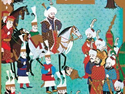 MHB 001 / Mehmed BEY / Uzun Hasan'ın Oğlu Uğurlu Mehmet Bey'in Babasının Alemlerini Fatih' in Huzuruna Getirmesi