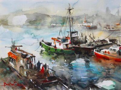 OZB 101 / Burhan ÖZER / OZB 101 100x140 Suluboya Balıkçı TekneleriSuluboya Balıkçı Tekneleri